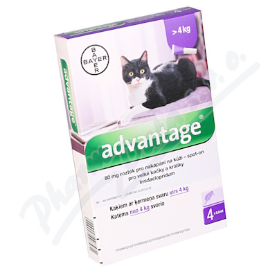 Advantage 80mg spot on pro v.kočky+králíky 4x0.8ml