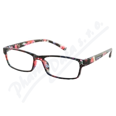 Brýle čtecí +2.50 černo-květinové