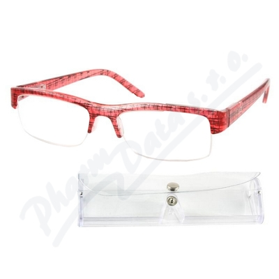 Brýle čtecí +2.00 červeno-černé s pouzdrem