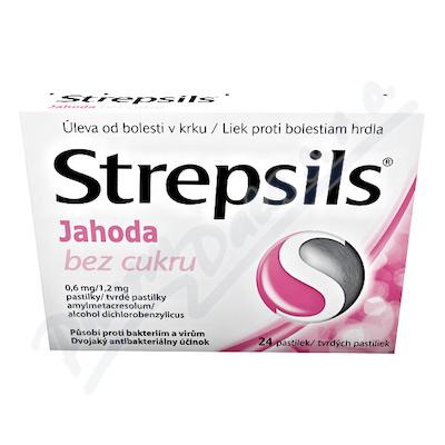Strepsils Jahoda bez cukru 0.6mg/1.2mg pas.24