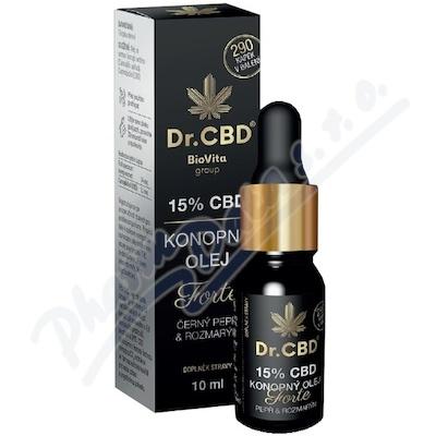 Dr.CBD 15% CBD konop.olej Forte č.pepř rozmar.10ml