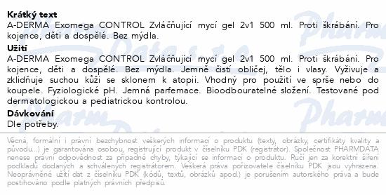 A-DERMA Exomega CONTROL Zvláč.mycí gel 2v1 500ml