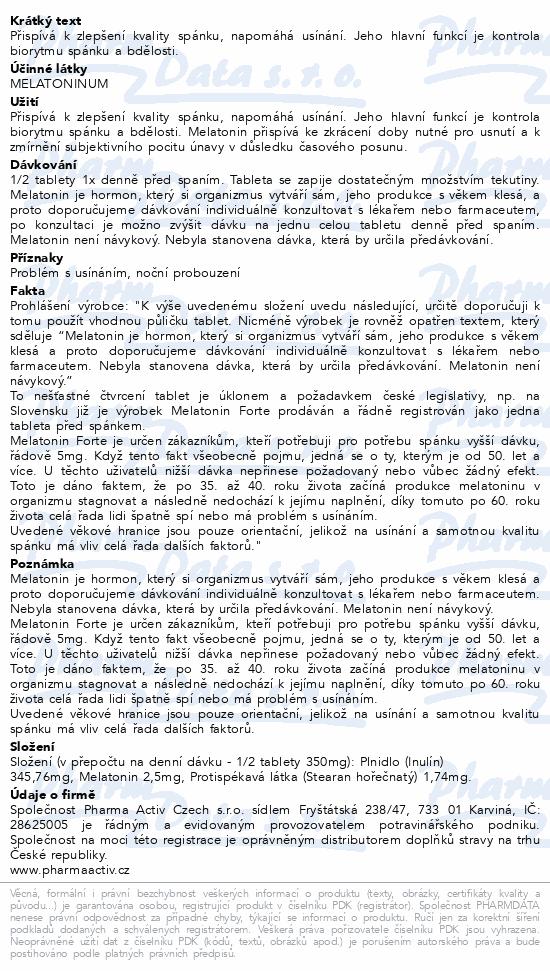 Melatonin Sníček FORTE 5mg + Vláknina 100 tablet